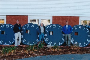 Malcolm, Chet Steen and Gordon Headley with rebuilt clock faces